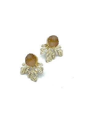 Druzy Stone/Leaf Earring