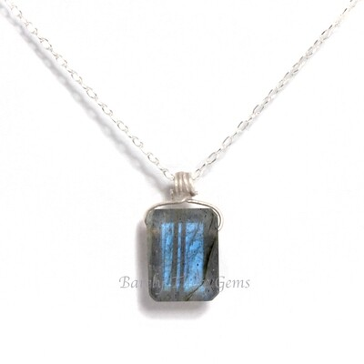 Labradorite, Sterling Silver, Emerald Facet