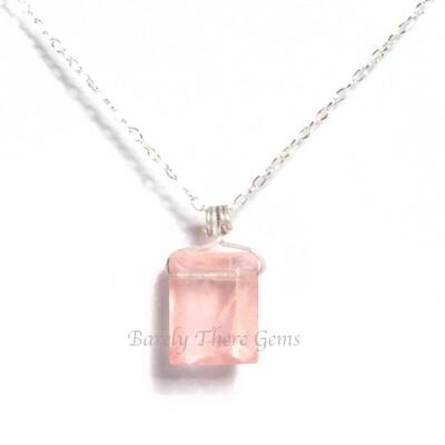Rose Quartz, Sterling Silver, Emerald Facet