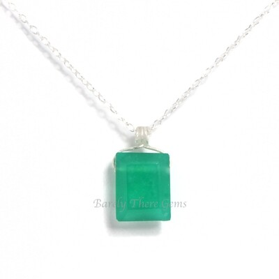 Green Onyx, Sterling Silver, Emerald Facet