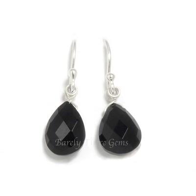 Black Onyx, Sterling Silver, Drop Earrings