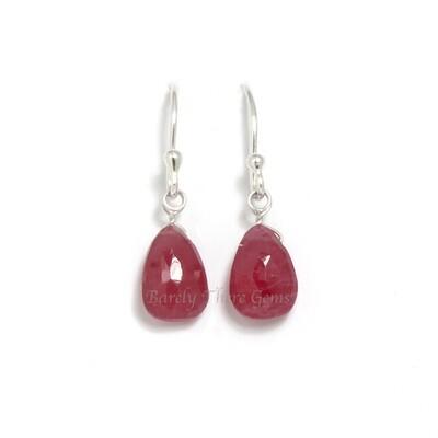 Ruby, Sterling Silver, Drop Earrings
