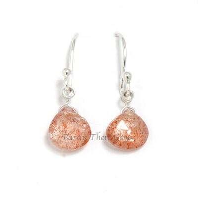 Sunstone, Sterling Silver, Drop Earrings