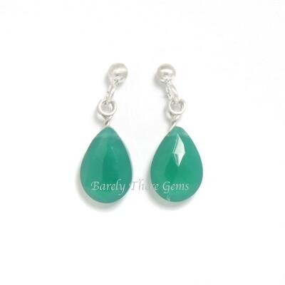 Green Onyx, Sterling Silver, Stud Earrings