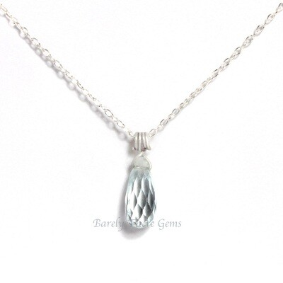Aquamarine, Sterling Silver, Necklace