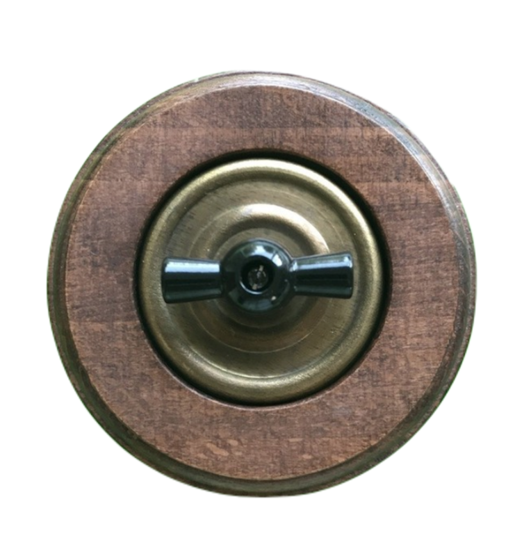 Aged bronze rotary switch & wooden frame