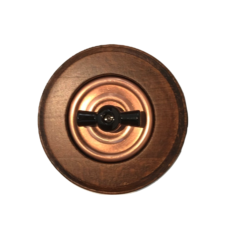 Copper rotary switch & wooden frame