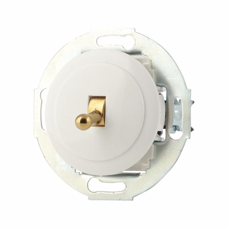 White toggle switch, bronze handle