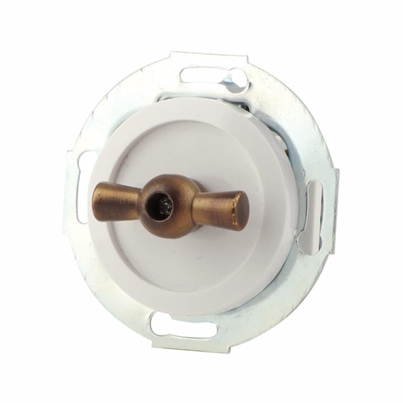 White rotary switch, bronze handle