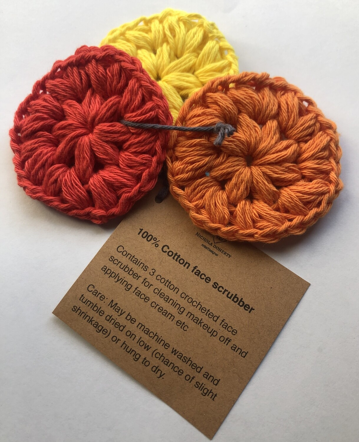 Set of 3 100% cotton crocheted face scrubbers