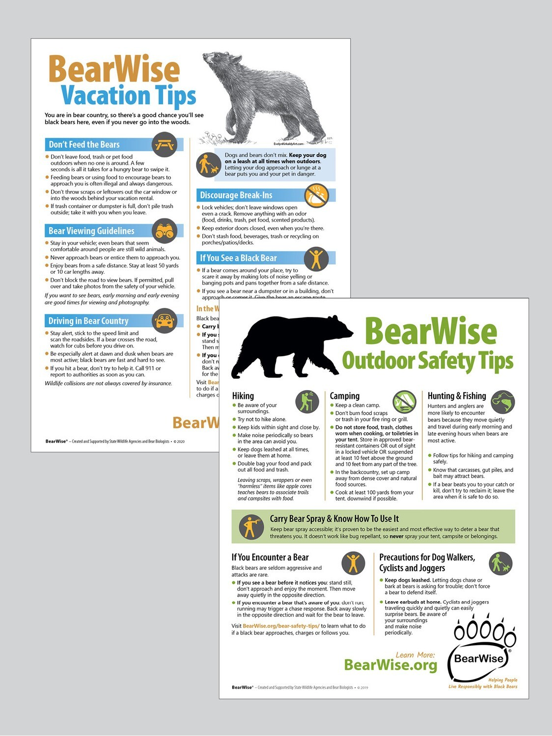 Combo Flyer: BearWise Vacation Tips / Outdoor Safety Tips