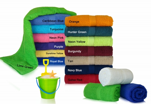 34x70 Terry Cotton beach towels. 100 % Terry Looped Beach towel.Imported. 19.0 Lb\Dz