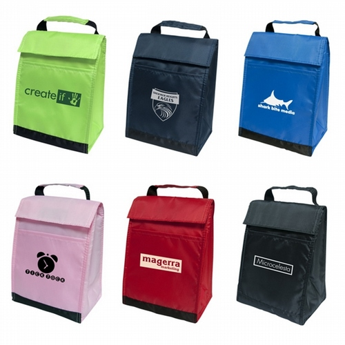 flip top lunch bag 210 denier polyester with carry handle - 25 pcs total