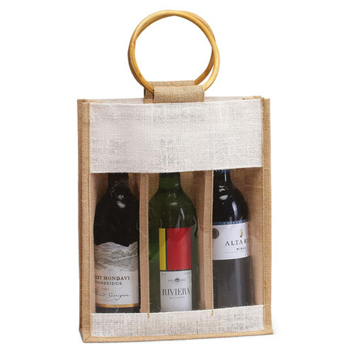 Three Wine Bottle Jute Bag With Plastic Window and natural cane handles. (Price for 50 pcs)