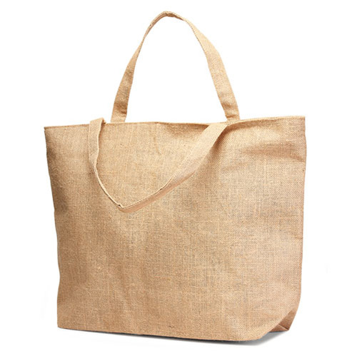 Jute Tote Bag with Jute Handles and Bottom Gusset with a Zippered Closure. (Price for 50 pcs)
