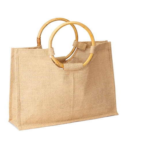 Jute Shopping tote with Round Cane handle. (Price for 50 pcs)
