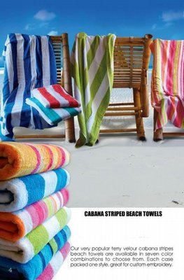 30x62 Cabana Stripe beach towels . White Stripes and Multi Color Stripes. 100% Cotton.