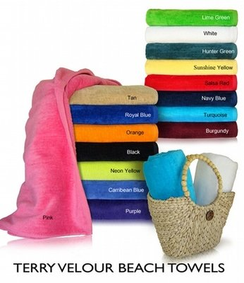 34x70 Terry Velour beach towels By Royal Comfort. 19.0 Lbs/ Dz, 100 % Ring Spun cotton.