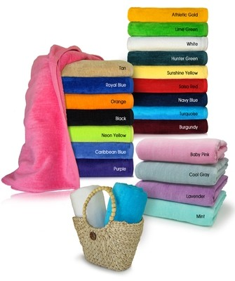 30x60 Terry Velour Beach towel, 100% Soft Cotton. Imported.