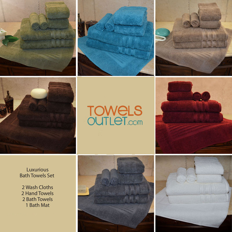 SPECIAL DISCOUNT ! LIMITED TIME TILL IT'S GONE 7 PCS Luxurious 100% Egyptian Cotton Bath Towel Sets