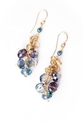 AV Midnight Dangle Cluster Gemstone Earrings #mid003e