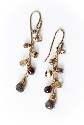 AV Cider Smokey Quartz Cluster Dangle Earrings #cid010e
