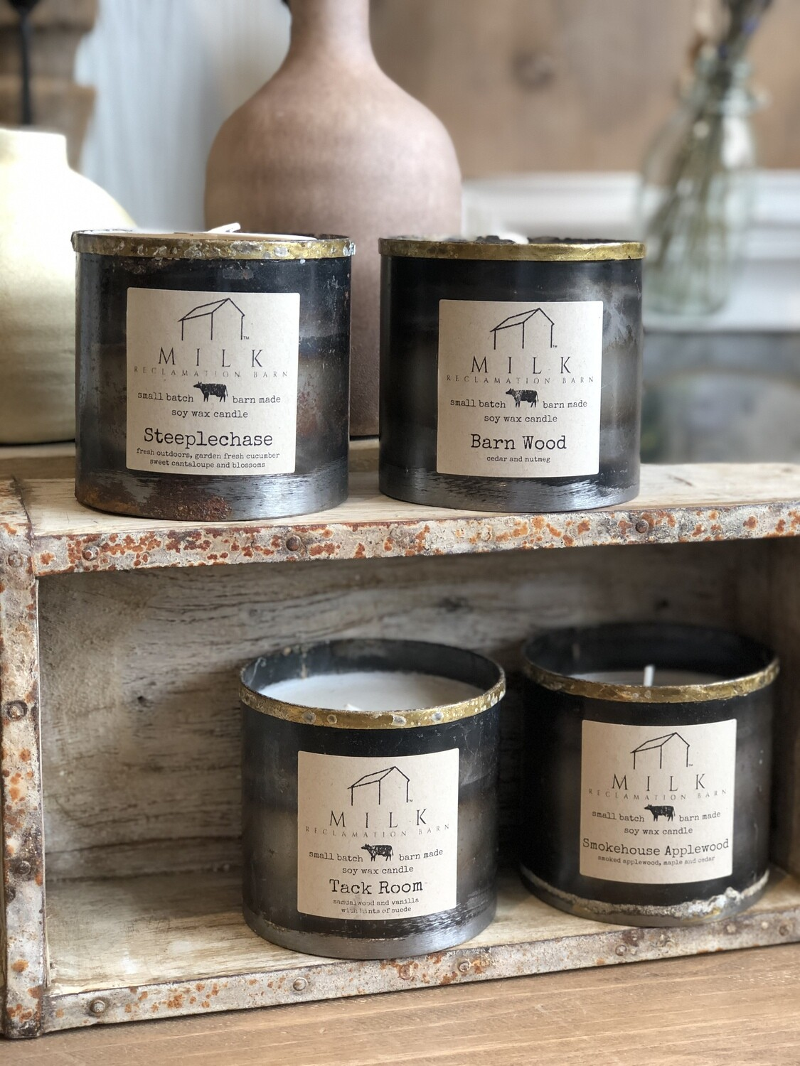 milk barn candles - metal