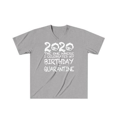 2020 My Birthday in Quarantine - Adult VNeck - Tri-Blend