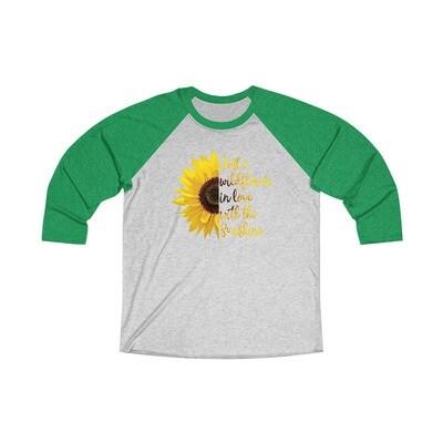 Wildflower Sunflower - Adult Tri-Blend 3/4 Raglan