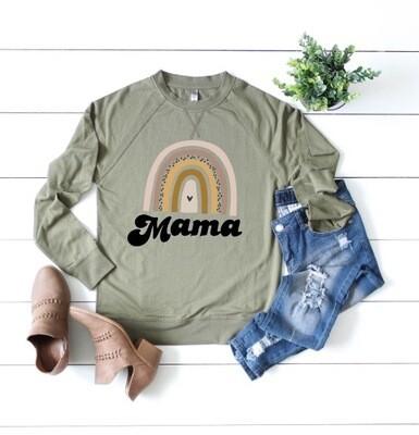 Mama Rainbow Sweatshirt in Military Green
