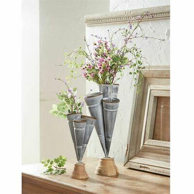 Conical Tin Triple Vase