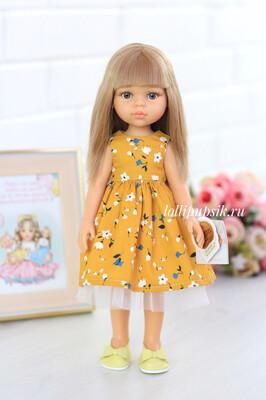 Кукла Карла с челкой в платье и серыми глазами (Паола Рейна), 34 см