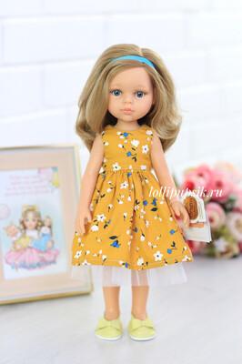 Кукла Карла с голубыми глазами, с волосами по пояс в платье (Паола Рейна), 34 см