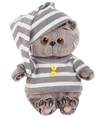 BUDI BASA Мягкая игрушка Басик BABY в пижаме - 20 см в положении сидя