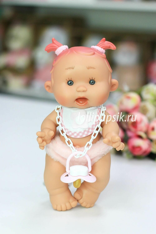 Ванильный пупс Nines d'Onil Девочка с розовыми тонкими хвостиками - 26 см