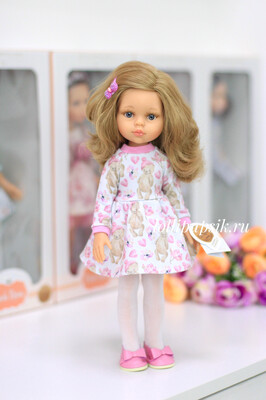 Кукла Карла с серыми глазами, волосами по пояс в платье (Паола Рейна), 34 см