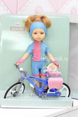 Кукла Даша велосипедистка с велосипедом (Паола Рейна), 34 см