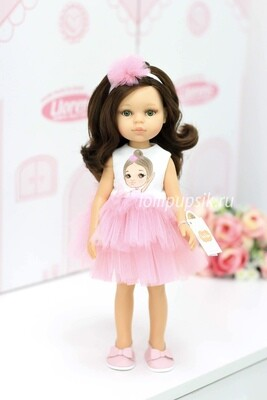 Кукла Кэрол с волосами по пояс в нарядном платье с балериной, с зелеными глазами (Паола Рейна), 34 см