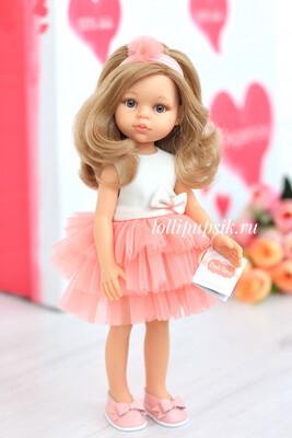 Кукла Карла с серыми глазами и волосами по пояс в нарядном платье (Паола Рейна), 34 см