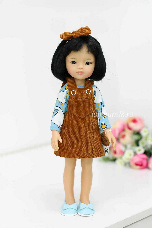 Кукла Лиу с каре в модно сарафане Паола Рейна, 34 см