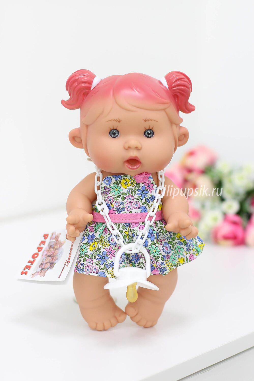 Ванильный пупс Nines d'Onil Девочка с розовыми пышными хвостиками - 26 см