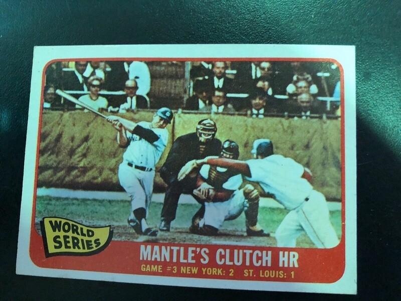 1965 Topps #134 Mickey Mantle Clutch HR World Series, $80