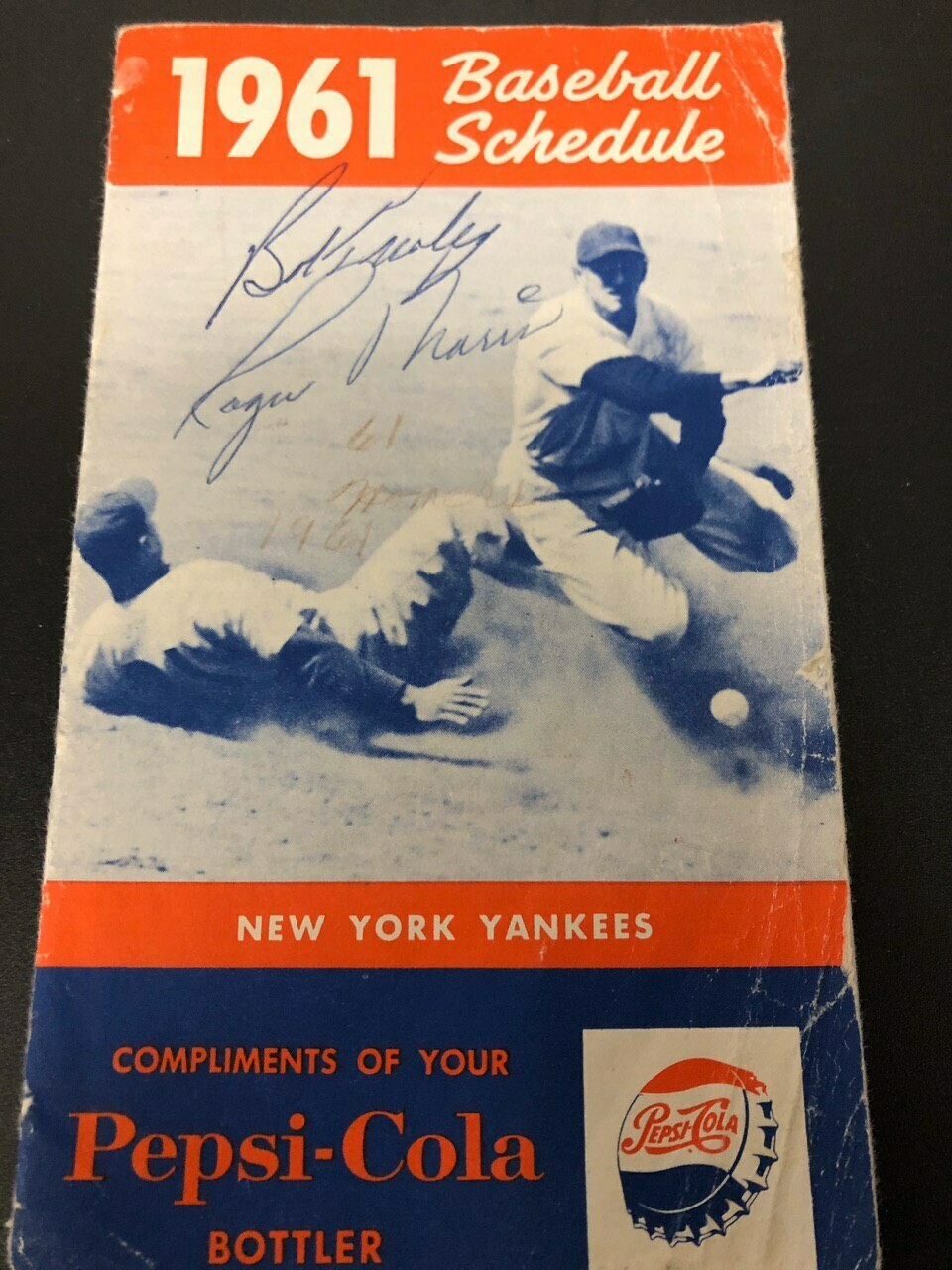 1961 Official NY Yankees schedule signed by Roger Maris JSA
