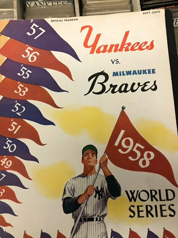 1958 World Series Program - NY Yankees vs. Milwaukee Braves
