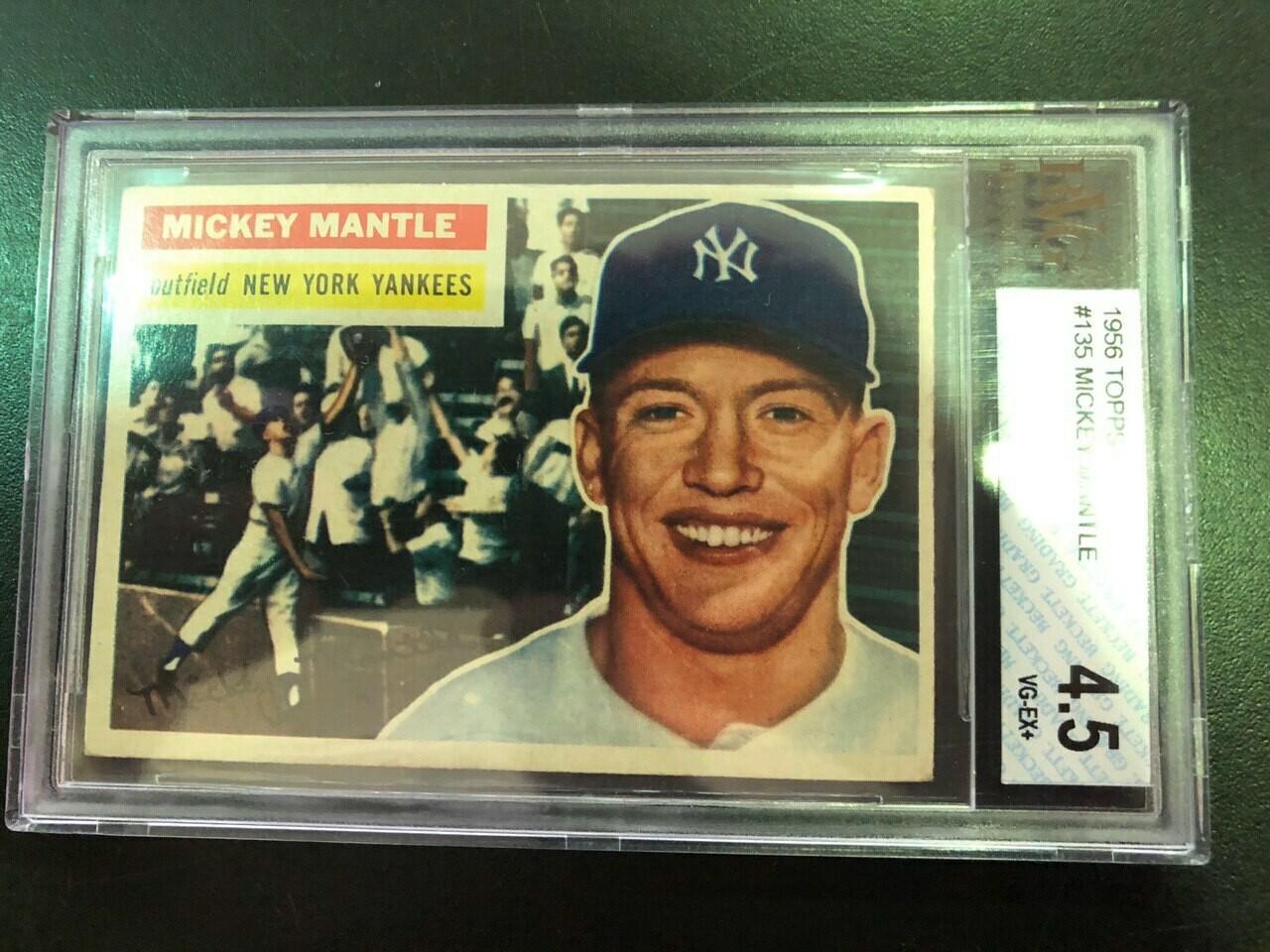 1956 Topps #135 Mickey Mantle, Beckett graded 4.5, $1200