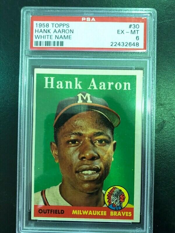 1958 Topps #30 Hank  Aaron, PSA graded 6, $250