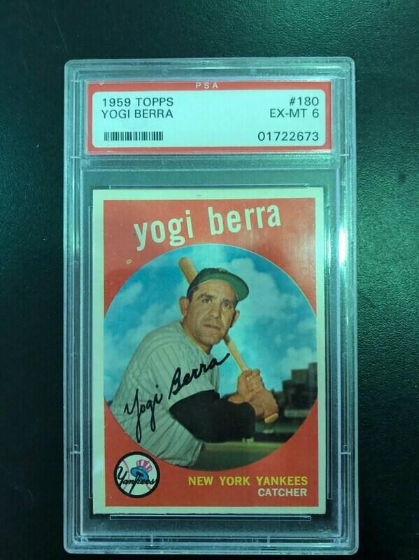1959 Topps #180 Yogi Berra, PSA graded 6, $100