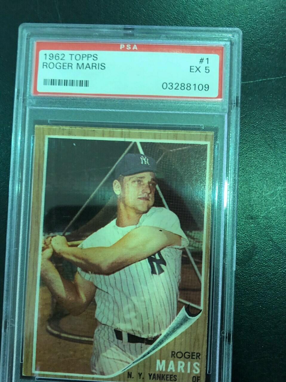 1962 Topps #1 Roger Maris PSA graded 5, $250