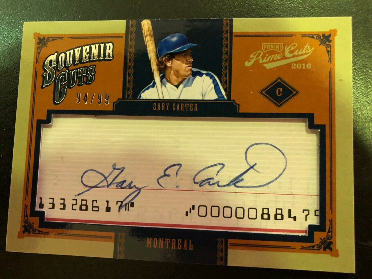 2016 Panini Souvenir Cuts Gary Carter Autograph card, $35