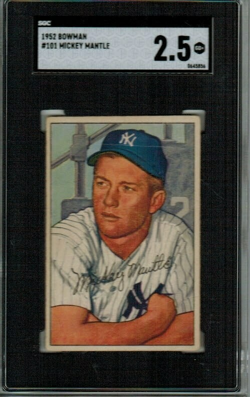 1952 Bowman #101 Mickey Mantle SGC Graded 2.5